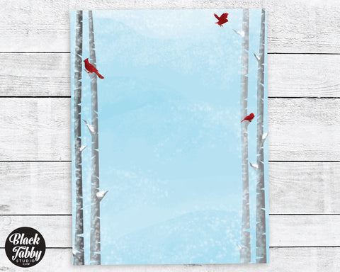 Cardinals & Birch Trees - Winter Stationery Paper