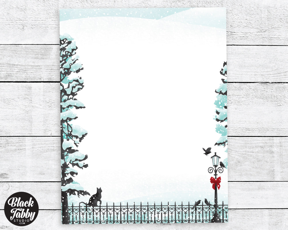 cat on fence with lamppost winter stationery paper black tabby