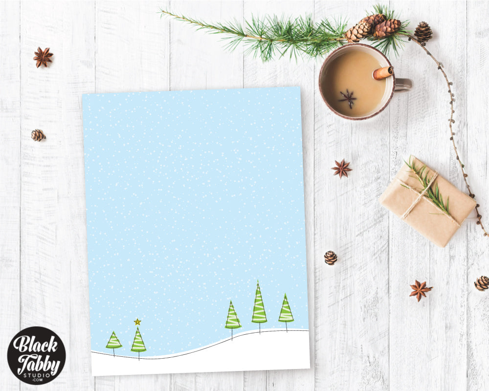 Christmas Tree on Hillside - Winter Stationery Paper