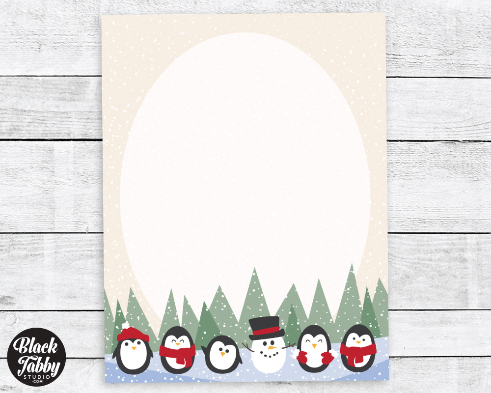 Penguins with a Snowman - Winter Stationery Paper