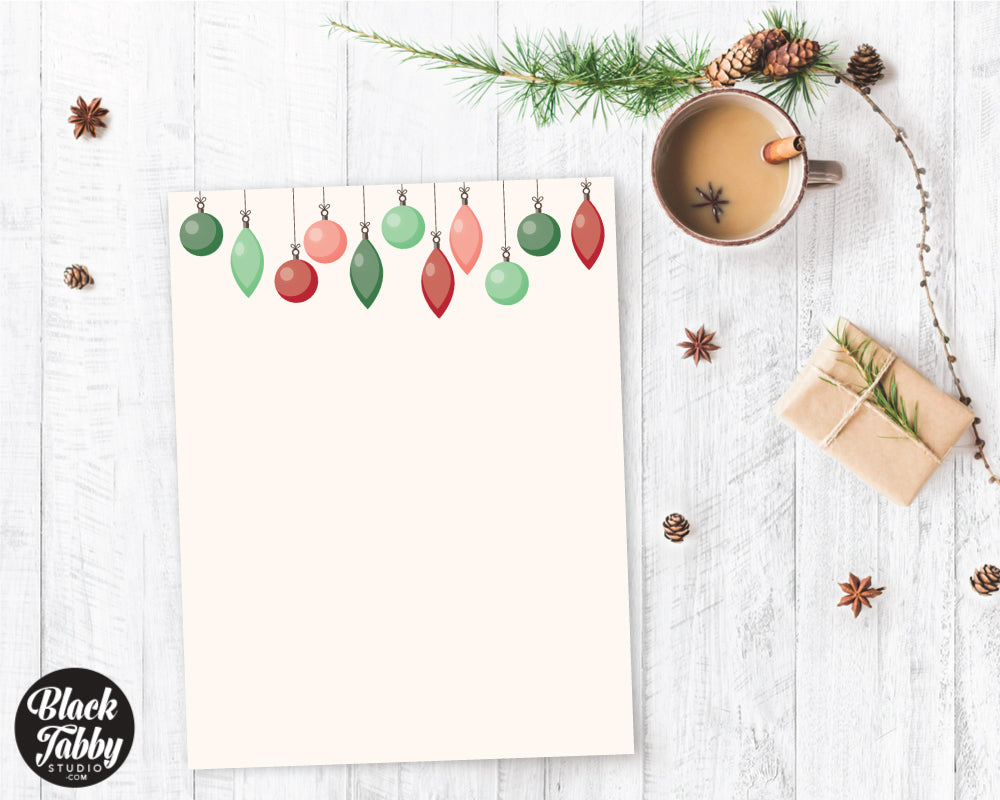 Hanging Baubles - Winter Stationery Paper