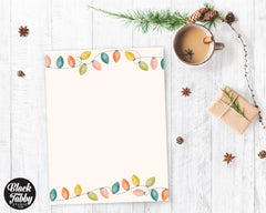 Colorful String Lights - Winter Stationery Paper