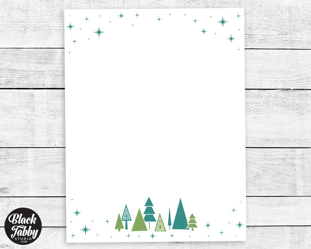 Geometric Pine Trees - Winter Stationery Paper