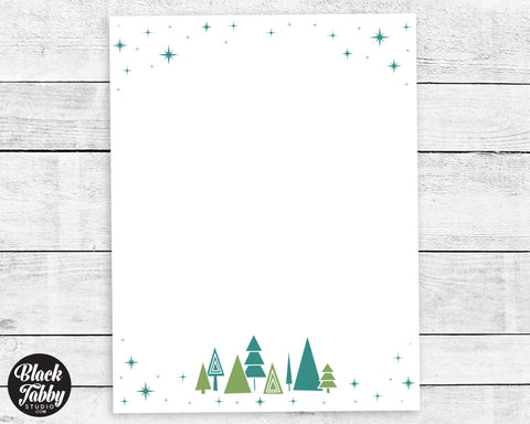 cardinals birch trees winter stationery paper black tabby studio