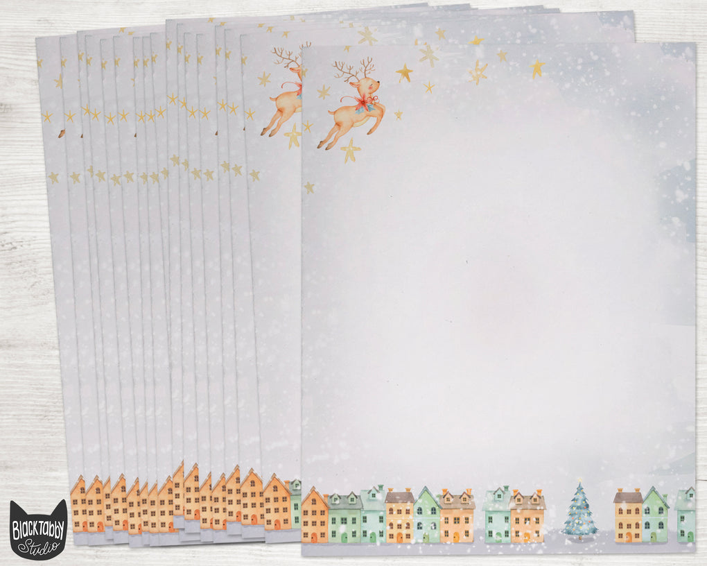 Reindeer Flying Over Christmas Village Stationery Paper - Set of 40 Sheets