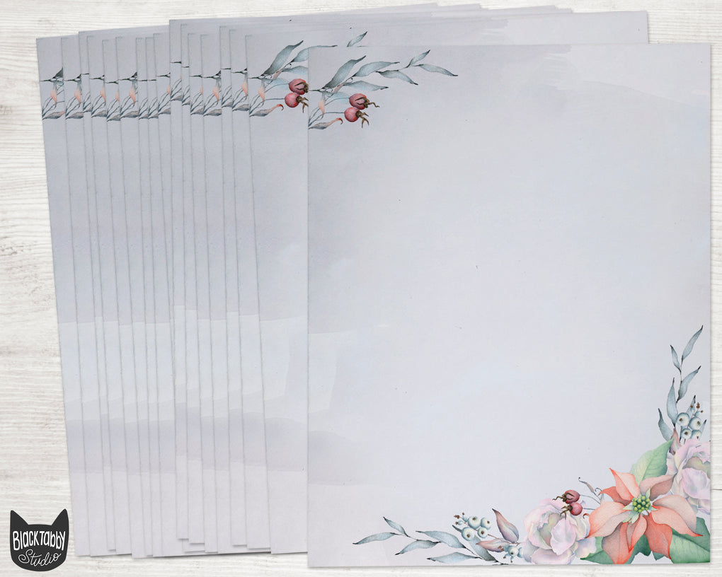 Winter Flowers Stationery Paper - Set of 40 Sheets