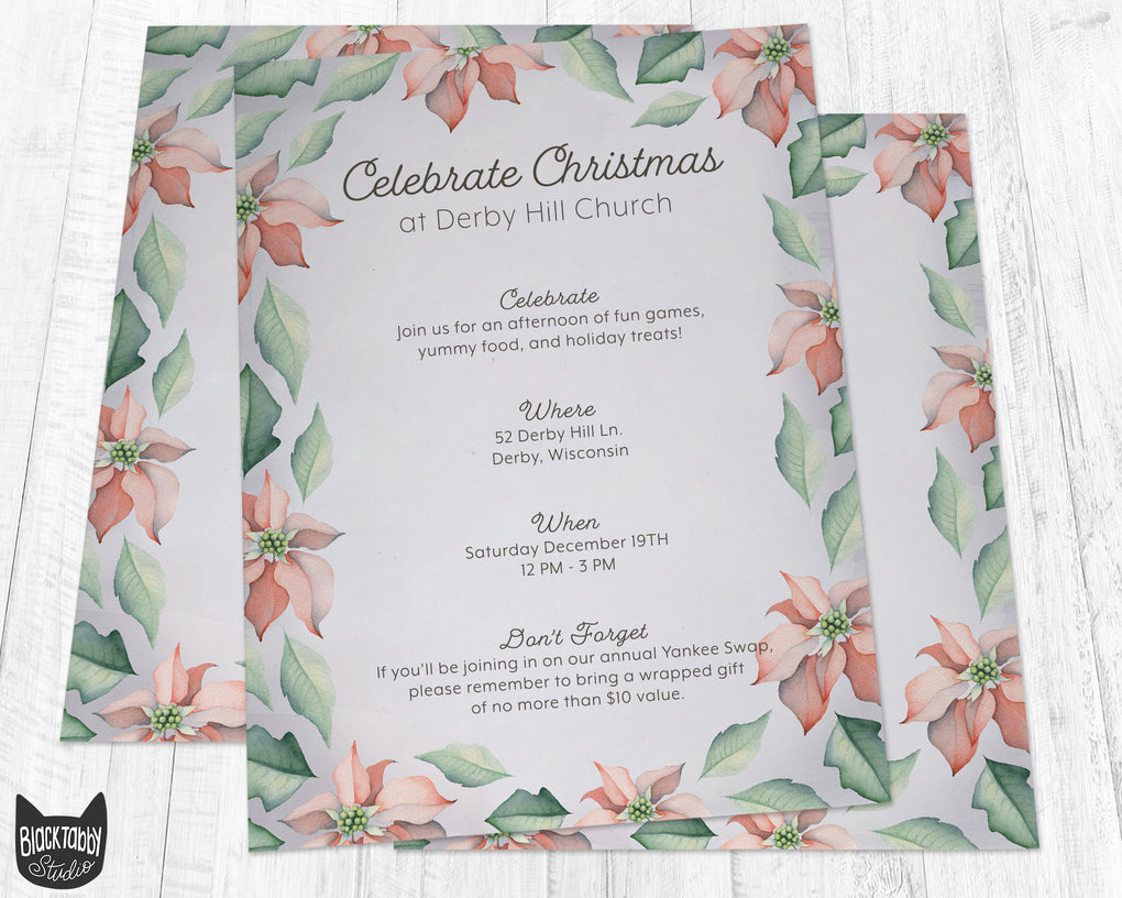 Poinsettia Flower Stationery Paper - Set of 40 Sheets