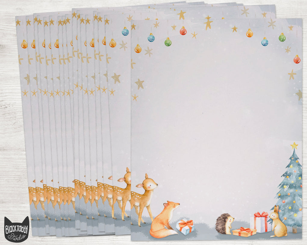 Baby Animal Christmas Stationery Paper - Set of 40 Sheets