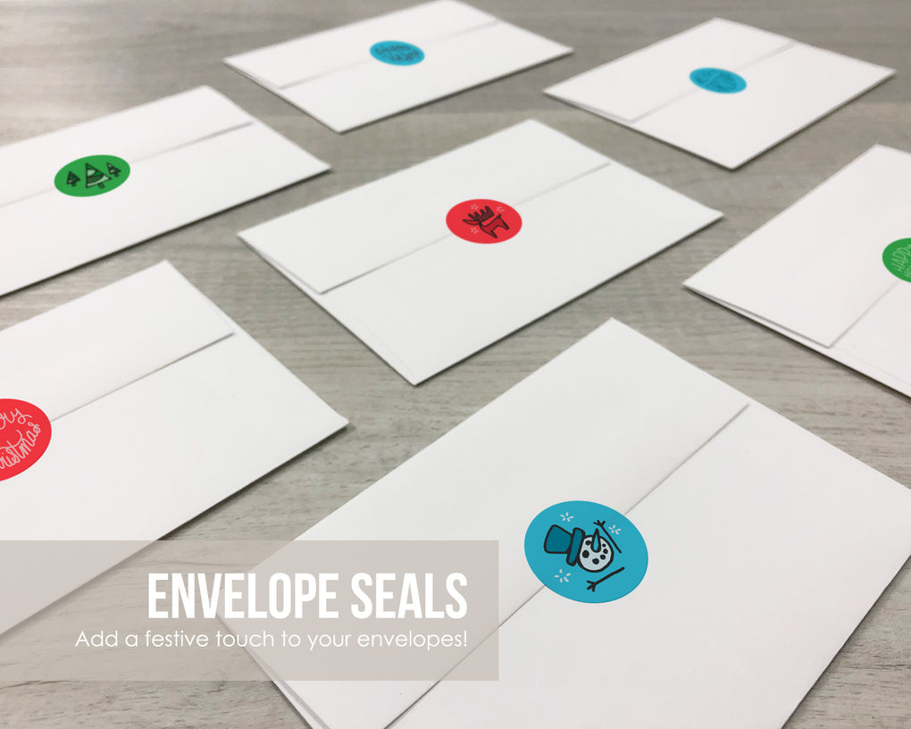 Merry Christmas Sticker Seals - Assorted Colorful Envelope Seals