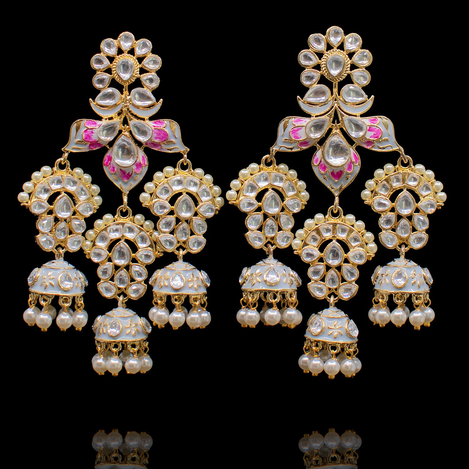 Aalah Earrings - Grey & Pink