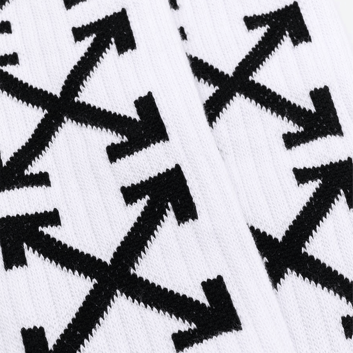 Arrow Mid Length Socks - White