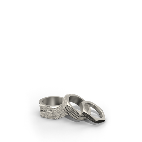 Textured Hexnut Rings - Silver