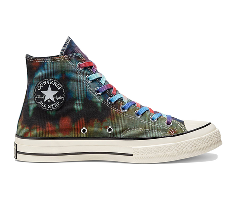 Chuck Taylor 70 Tie Dye Plaid Hi - Black