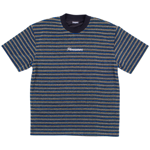 Disturbed Glitter Striped T-Shirt - Blue