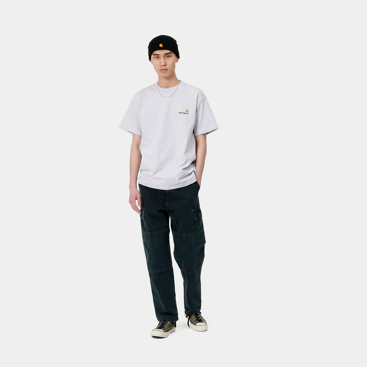 S/S American Script T-Shirt - Ash Heather