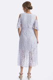 Aria Lace Maternity Dress - Soft Blue
