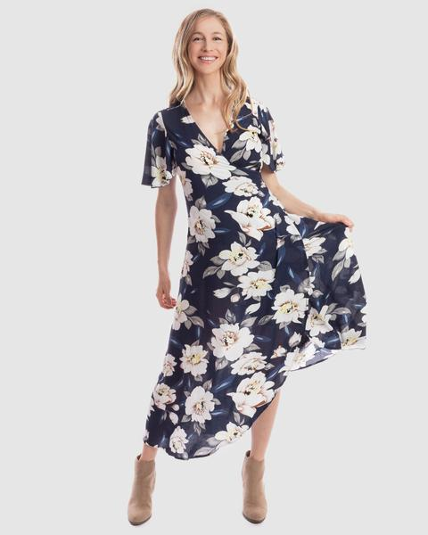 Harlow Maternity & Nursing Wrap Dress in Navy Floral