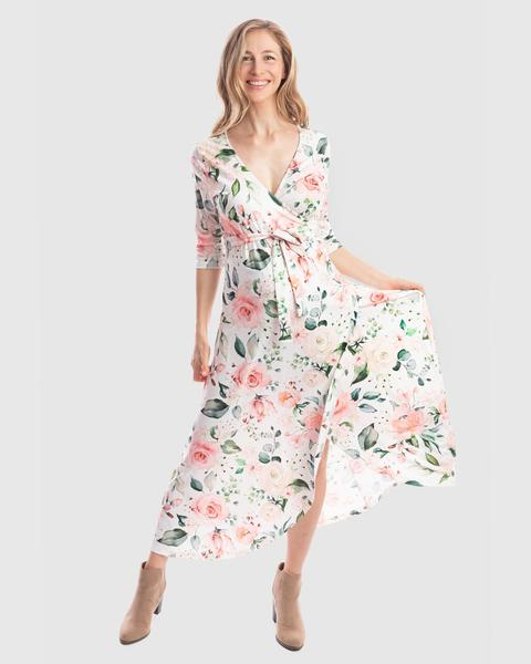 Harper Stretch Winter Wrap Dress in White Floral