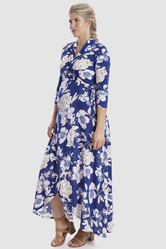 Harper Maternity & Nursing Wrap Dress in Navy Floral