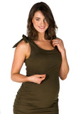 Lyla Bamboo Maternity and Nursing Tank Dress in Khaki