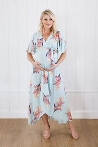 Harlow Maternity & Nursing Wrap Dress in Mint