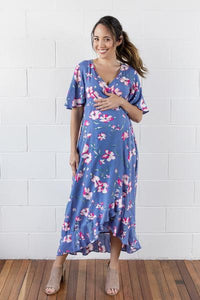 Harlow Wrap Dress in Indigo Bloom