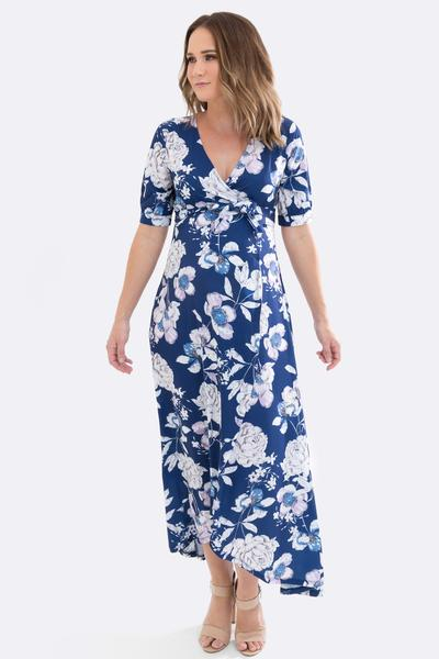 Harlow Maternity and Nursing Wrap Dress in Navy Floral