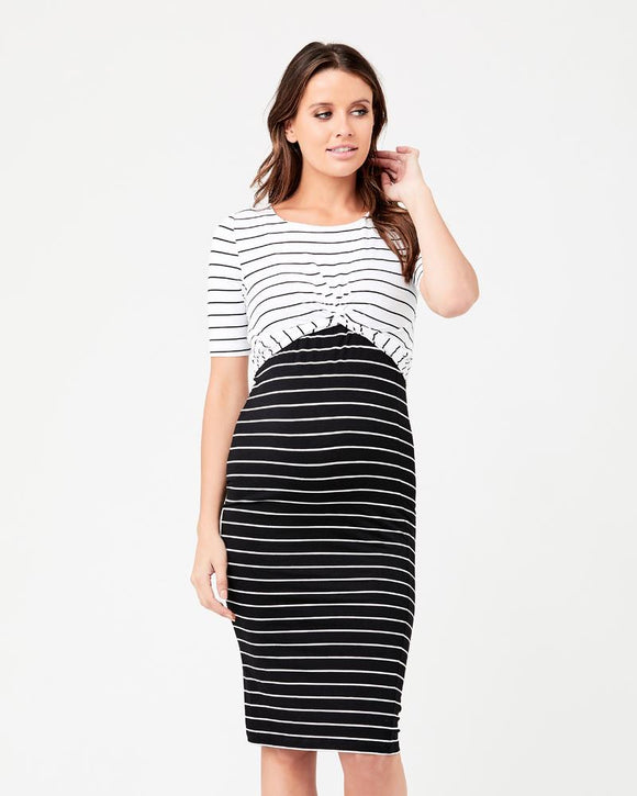 Twisted Nursing Dress Black / White