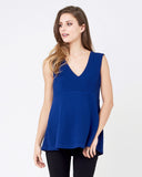 V Neck Peplum Top Royal