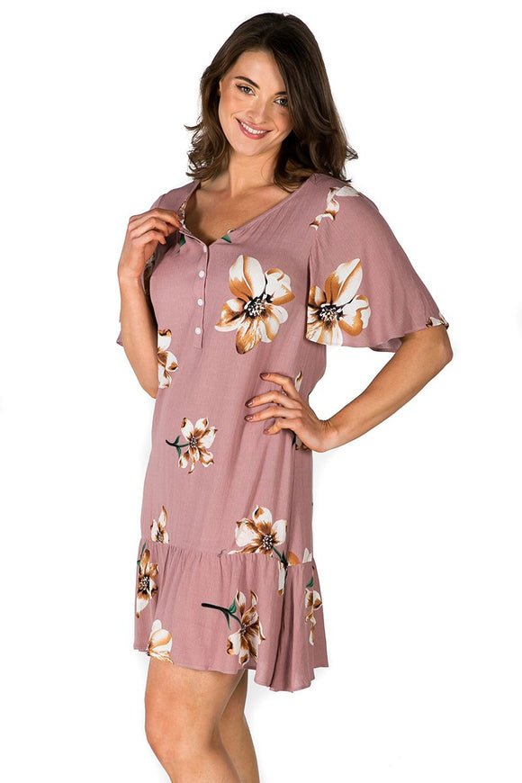 Vesper Nursing Dress in Dusty Pink