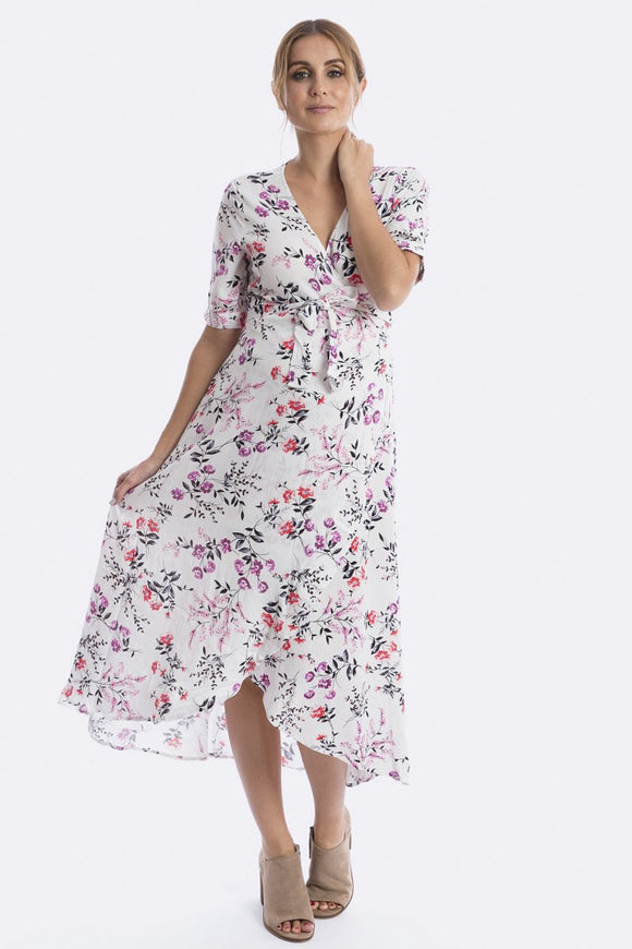 Harlow Maternity & Nursing Wrap Dress - Jasmine Floral