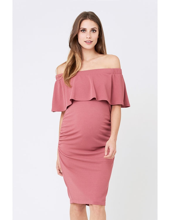 Soiree Off Shoulder Dress - Rose