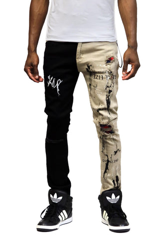 KLEEP Reed Washed Skinny Half and Half Twill Pants In Tan/Black