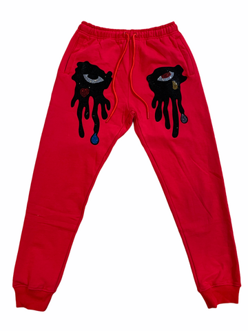 Roku Studio 'Tear Drips' Rhinestone Joggers (Red)