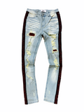 DNA Rhinestone Stripe Denim - Red - Fresh N Fitted