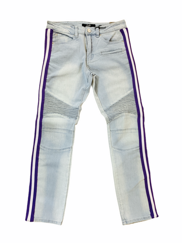 Ops Moto Denim w/ Side Stripe (Lt.Blue/Purple)