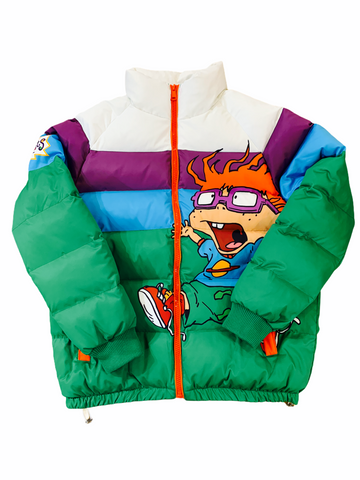 Freeze Max x Rugrats Striped Puffer Jacket (Green/Blue/Purple)