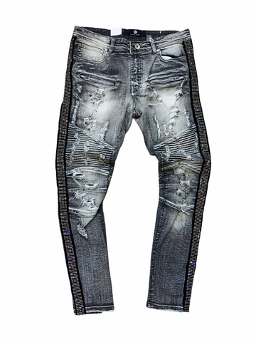Focus Rhinestone Stripe Denim - Gray/Silver - Fresh N Fitted