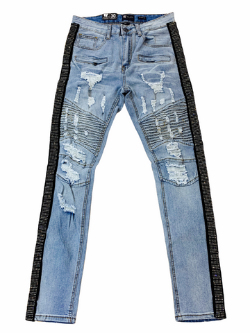Waimea Distressed Denim w/ Rhinestone Stripe (Stone Wash/Silver)