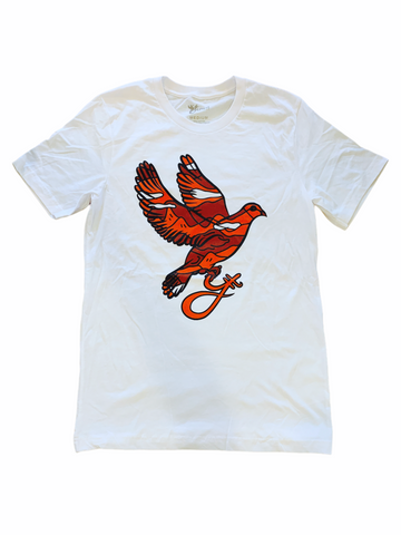 Yumm 'Red Camo Dove' T-Shirt (White)