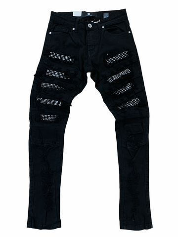 Focus Ripped Denim w/ Rhinestones (Black/Silver)
