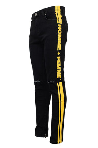 Homme + Femme Striped Logo Denim Black and Yellow - Fresh N Fitted
