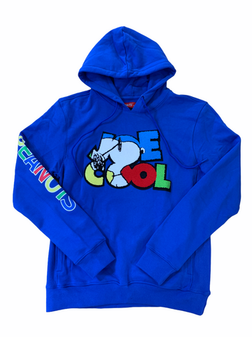 Peanuts 'Joe Cool' Chenille Patch Hoodie (Royal)