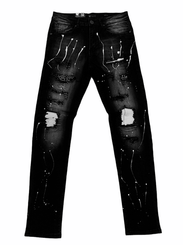 Waimea Distressed Denim w/ Splatter (Black Wash)