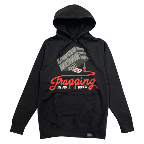 PG Apparel 'Trappin In My Blood' Hoodie (Black/Grey)