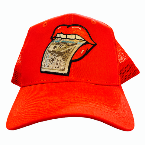 'Money Tongue' Trucker Hat (Red)