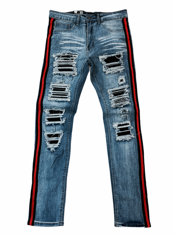 Waimea Distressed Side Stripe Denim w/ Stones (Blue Wash/Red/Black)