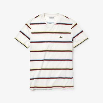 Lacoste Men's Crew Neck Colour Striped Soft Cotton T-shirt - Fresh N Fitted