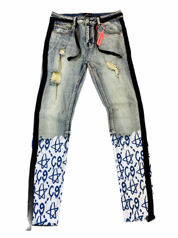 Cooper 9 'C9 Graffiti' Stripe Denim (Blue/Black)
