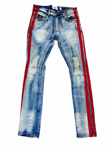 FWRD Distressed Denim w/ Side Stripe (Lt. Tint/Red)